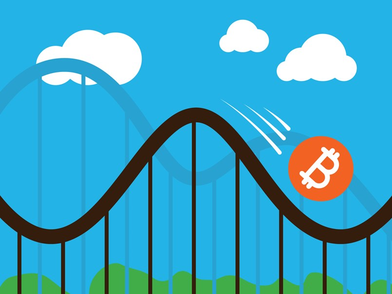 Cryptocurrency rollercoaster illustration