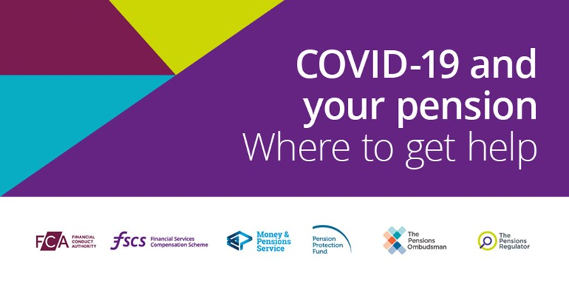 Header saying 'COVID-19 and your pension, where to get help'
